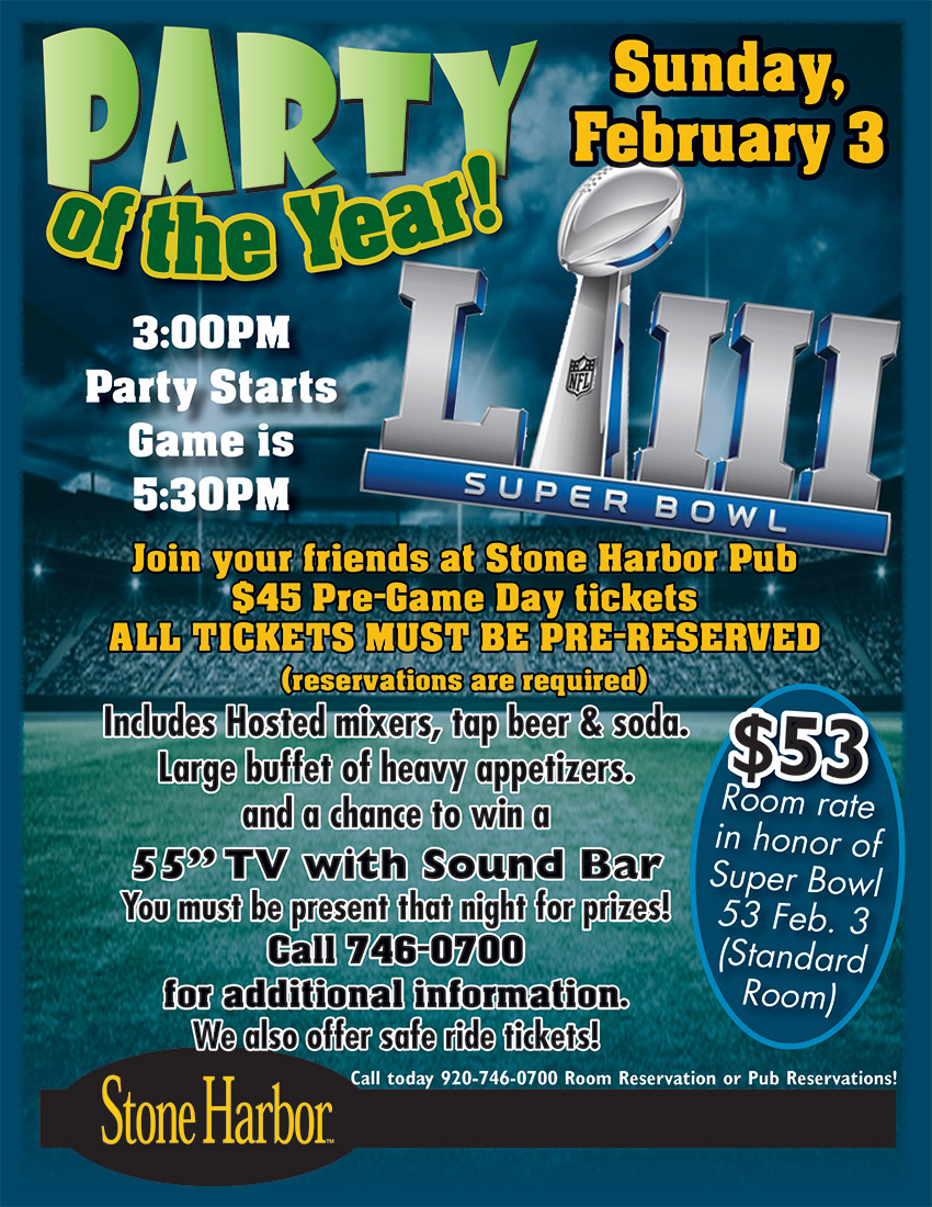 super bowl party,door county,stone harbor pub,sturgeon bay