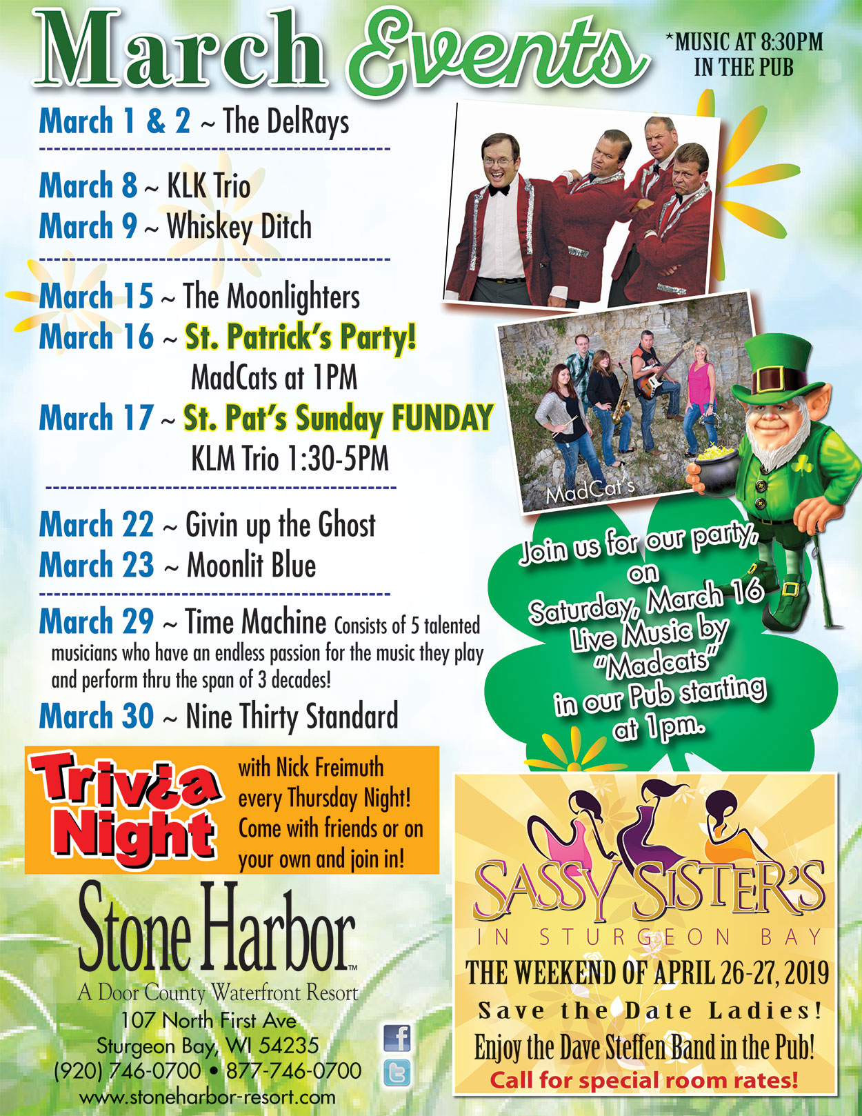 March 2019 Events at stone harbor,sturgeon bay,things to do in door county,things to do in sturgeon bay, things to do in wisconsin