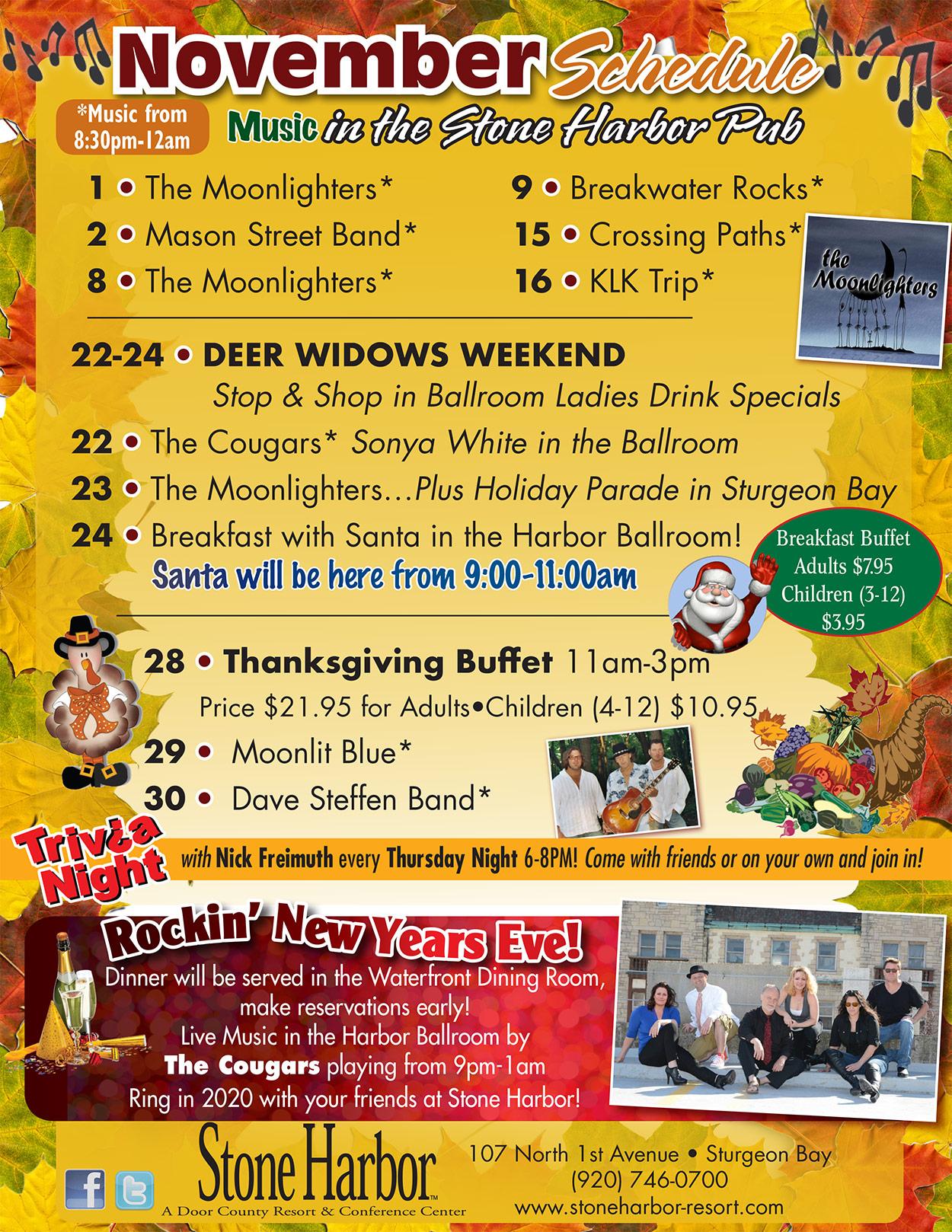 things to do in door county,loding door county,door county resorts,door county events,stone harbor resort event schedule
