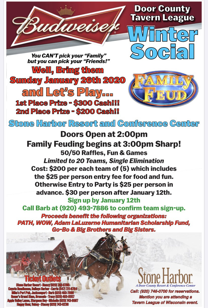 winter social,door county tavern league,stone harbor resort