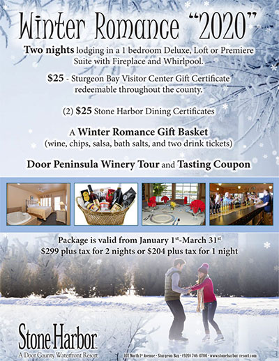 winter romance,door county lodging,stone harbor resort