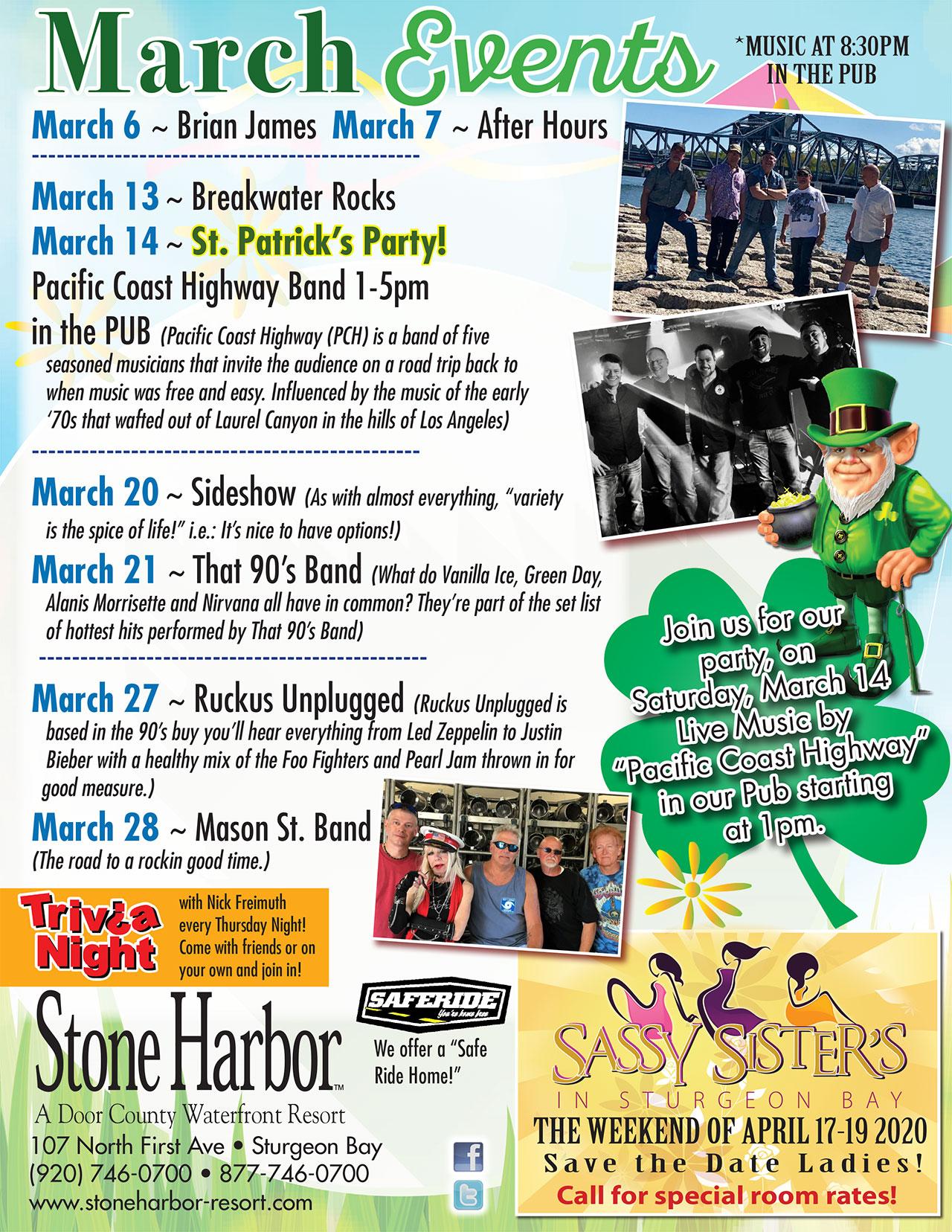 march events,live entertainment,door county,stone harbor resort,stone harbor pub
