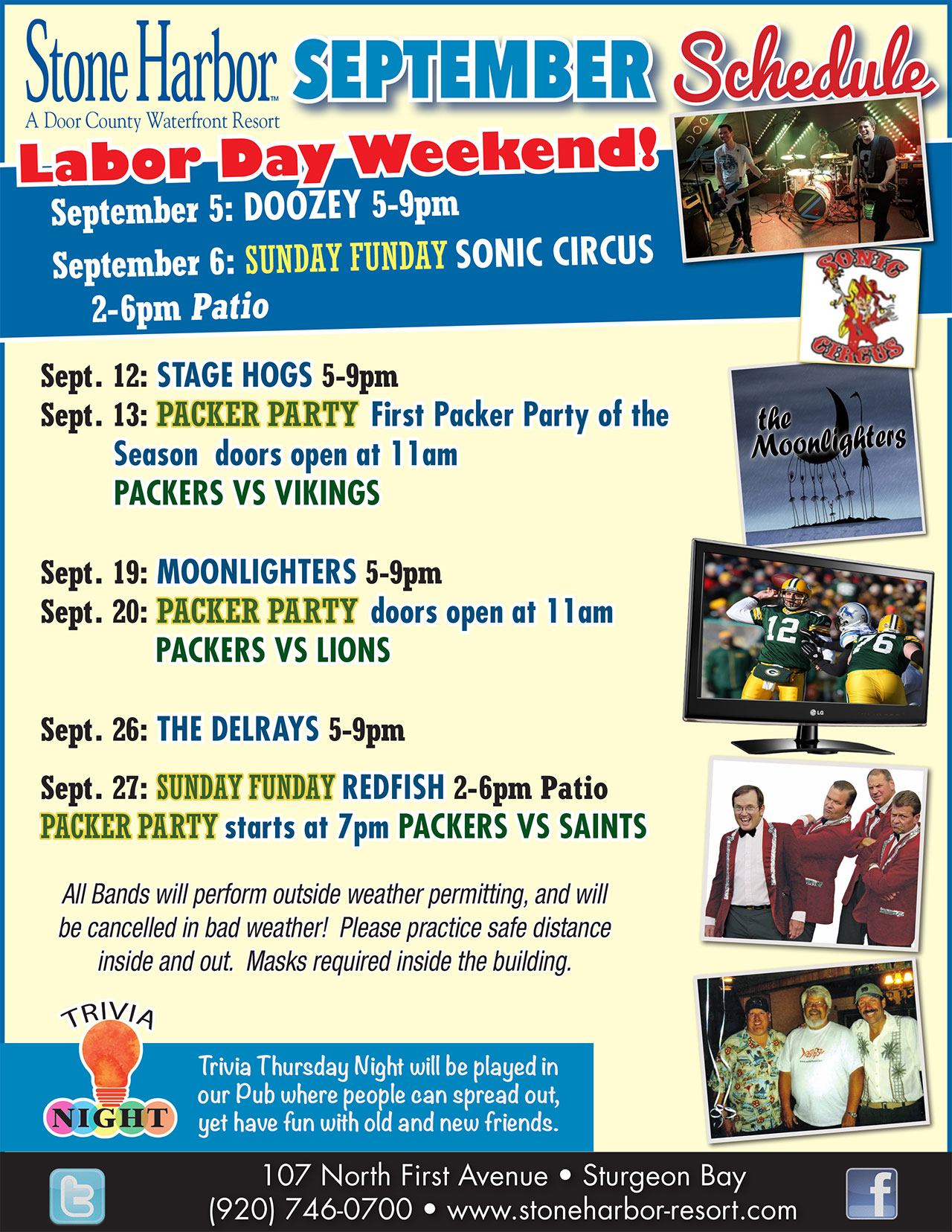 september event schedule at stone harbor resort,door county wi,things to do door county,live entertainment near me