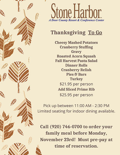 Thanksgiving To Go Menu ~ Limited searting for indoor dining