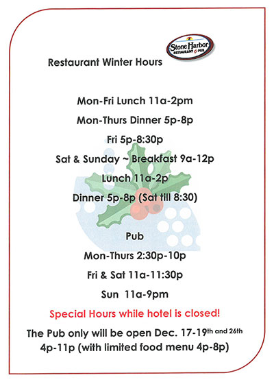 Restaurant & Pub Winter Hours