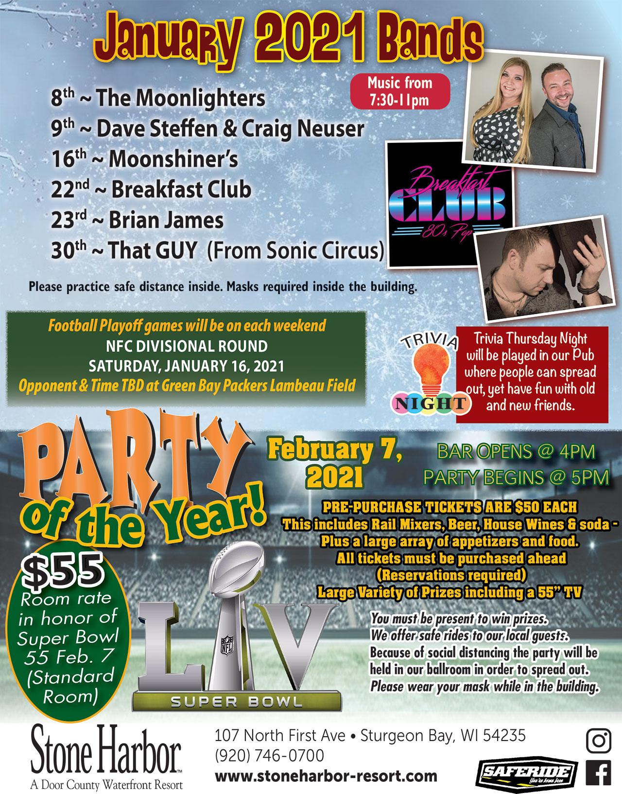 door county events,2021 january live music schedule,stone harbor resort,door county lodging