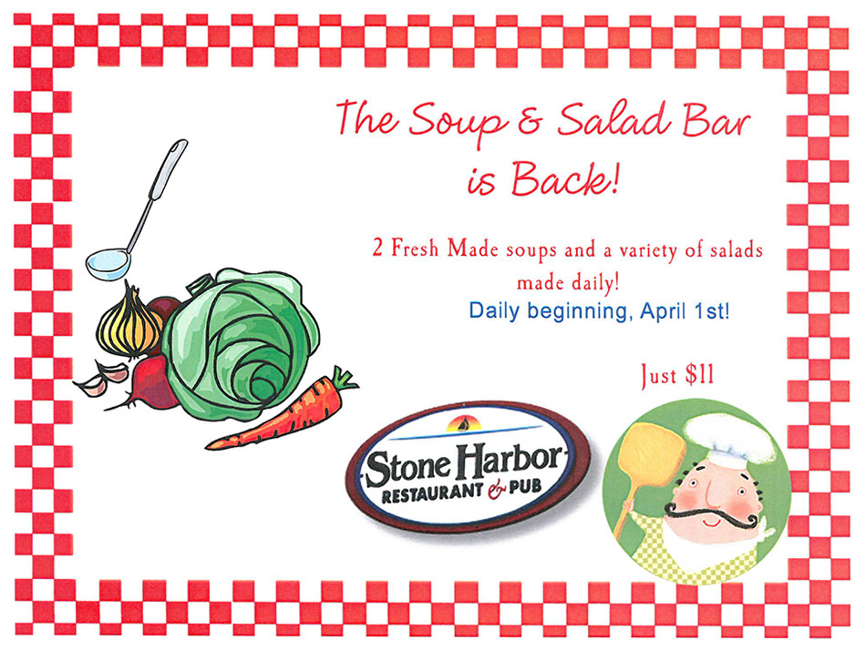 soup, salad bar, stone harbor restaurant, sturgeon bay restaurants, waterfront dining