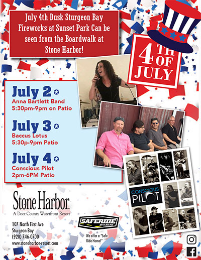 4th of July, Fireworks, Live entertainment, Door County Wisconsin, stone harbor resort
